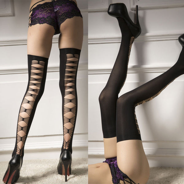Black Thick Lace Top Bow Opaque Thigh High Stockings