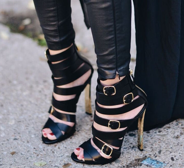 Leather and Buckles Blade Heel Gladiator Sandals