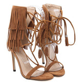 Fringe Gladiator High Heel Sandals
