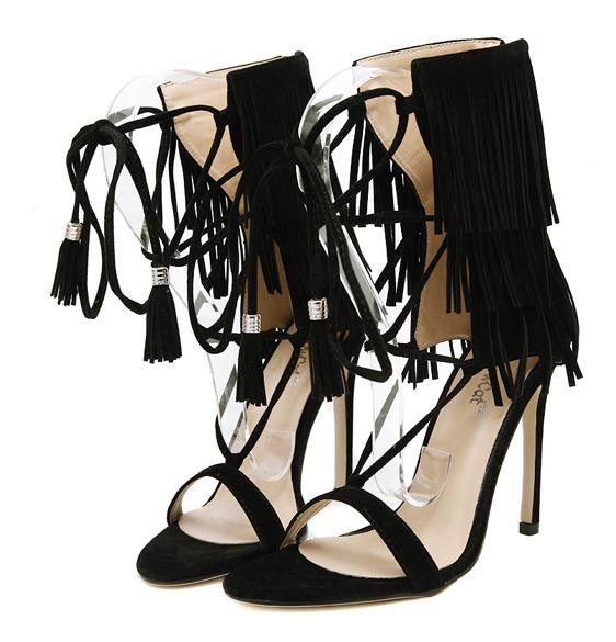 7a1aa983d2ad Fringe Gladiator High Heel Sandals – THULI NYC