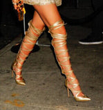 Gold Leather Celebrity Thigh High Gladiator Heels