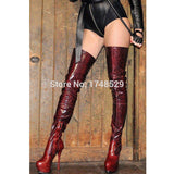 Sky High Red Python Pattern Thigh High Platform Boots 160MM
