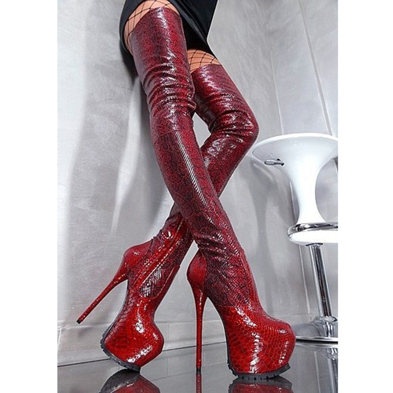 319cd322e1ce6 Sky High Red Python Pattern Thigh High Platform Boots 160MM