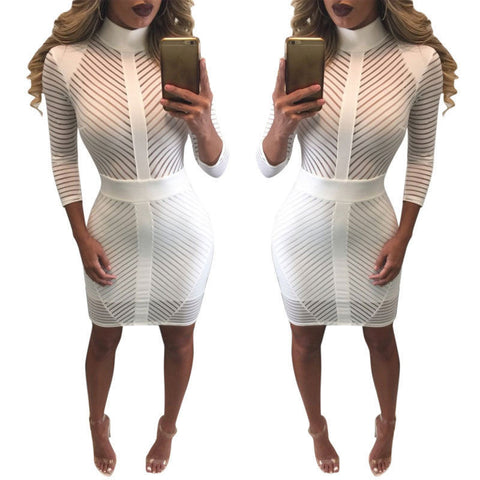 Turtleneck Slim Bodycon Bandage See Through Lace Pencil Dress