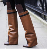 Patchwork Leather Shark Lock Knee High Boots