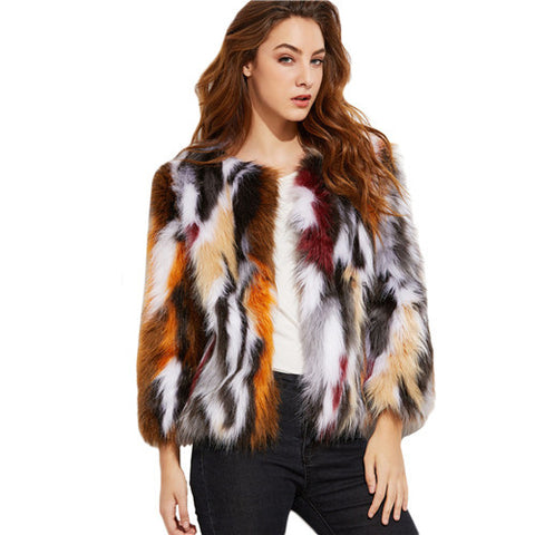 Faux Fur Multicolored Elegant Jacket