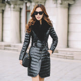 Sheepskin Genuine Leather Down Coat with Fox Fur Collar