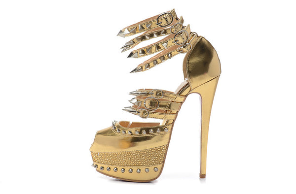 Handmade Genuine Leather Spiked Platform Peep Toe Pumps
