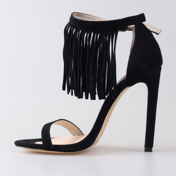 Fringed Genuine Leather High Heel Sandals