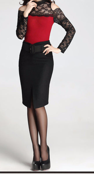 High Waist Wide Belt Pencil Skirt