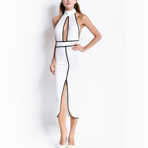 Cut Out Stand Neck Halter Backless Split Midi Dress