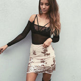Sequined Lace Mesh Mini High Waist Skirt