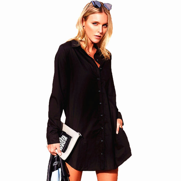 Slouchy Loose Fit Dual Pockets Boyfriend Shirt Dress