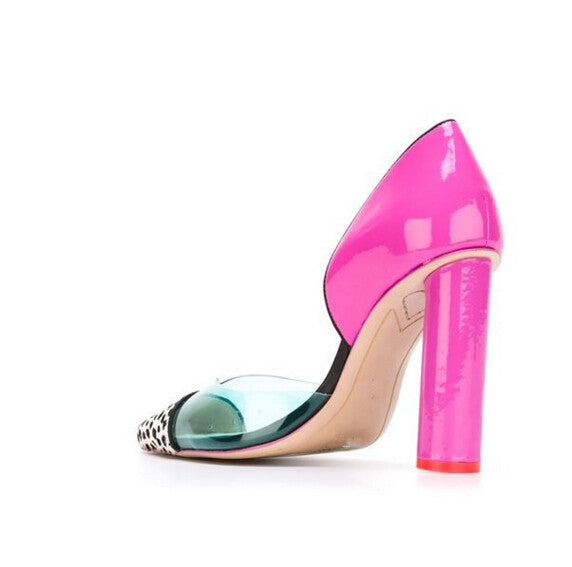 PVC Patch Patent Leather Round Chunky Heel  Pumps
