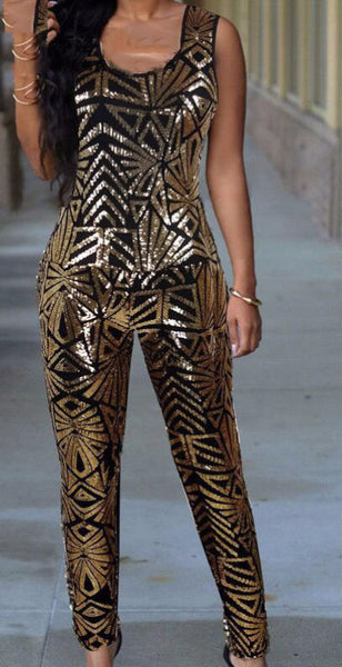 Geometric Sequins Sleeveless Jumpsuit