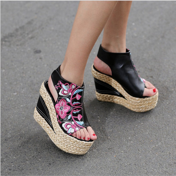 Flower Wedge Woven High Heels