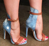 Denim and Leather High Heel Sandals