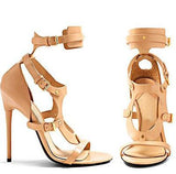 Metallic Leather Buckle Cross Gladiator Sandals Sexy Open Toe Rome Style High Heels Ladies Fashion Gladiator Shoes