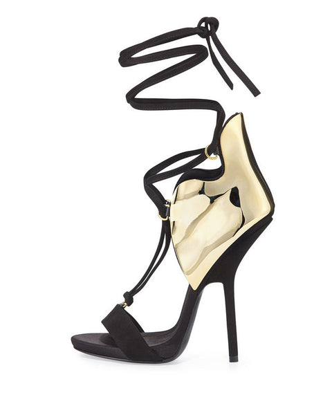 Suede and Metal Covered T-Ankle Strap High Heel Sandals