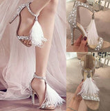 Pearl and Rhinestones Covered Fringe High Heel Sandals
