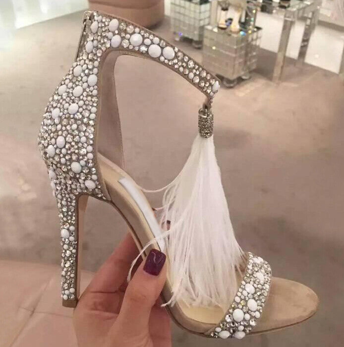 3d77f6bd44c9 Pearl and Rhinestones Covered Fringe High Heel Sandals – THULI NYC