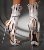The Showstopper Genova Genuine Leather Stiletto Gladiator Heels