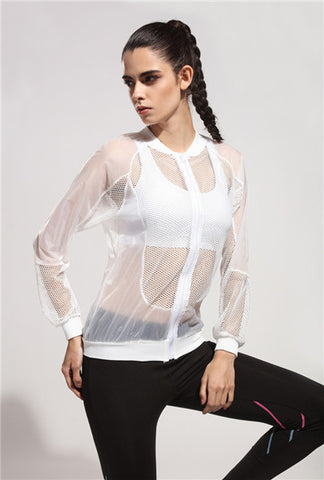 Breathable Anti UV Transparent Mesh Coats Sun Protection Bomber Jacket