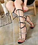 Pearl Embellished Knee High Gladiator Sandals