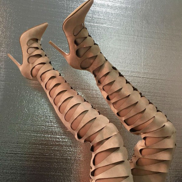 Nude Cut-outs Gladiator High Heel Sandals