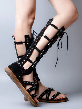 Leather and Studs Covered Knee High Flat Gladiators