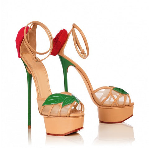 Red Rose Sky High Peep Toe Platform Sandals