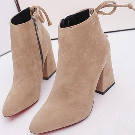Suede Thick Square Heel Red Bottom Ankle Boots