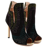 Multicolored Rhinestone and Suede Peep Toe Ankle Boots