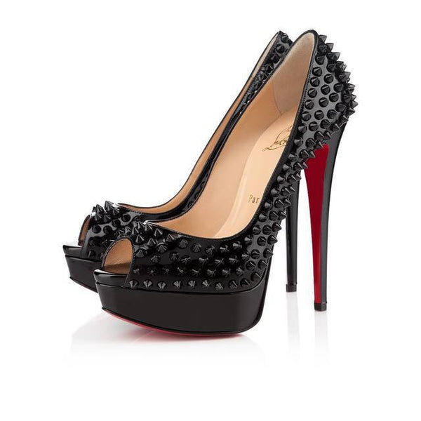 Spiked Red bottom Genuine Leather Platform Heels