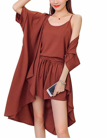Leo Three-piece Pure Color Chiffon Suit