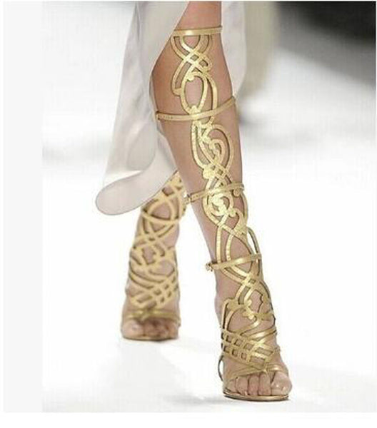 Knee High Gladiator High Heel Sandals