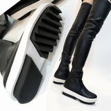 Rugged Sole Genuine Leather Over the Knee Thigh High Sneaker Boots
