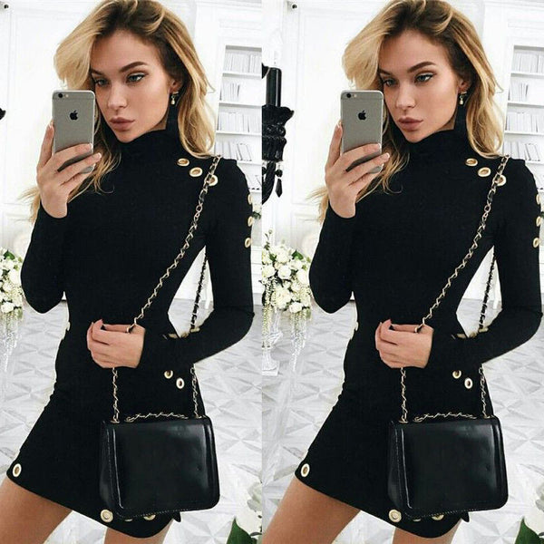 Turtleneck Long Sleeve Holes Mini Dress