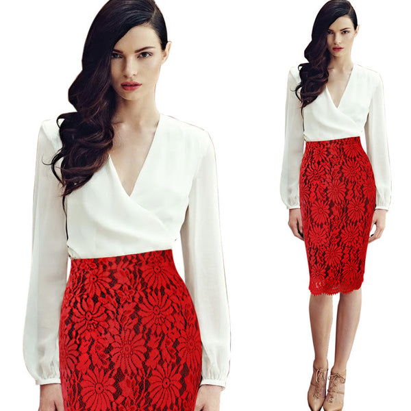 Floral Lace High Waist Fitted Pencil Skirt