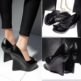 Vintage Genuine Leather Wedge Pumps