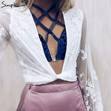 Velvet Front Closure Bralette Crop Top