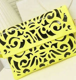 Fluorescence Color Hollow-out Envelope Large Clutch Bag