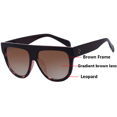 Flat Top Oversize Shield Shape Sunglasses