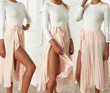 2 Piece Set  Long Sleeve Top + Pleated High Slit Chiffon Skirt