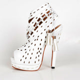 White Hollow Out  Handmade Gladiator Sandals