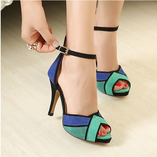 Suede Multicolored Peep-toe Ankle Wrap Pumps