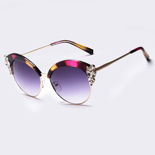 All The Jewels Cat Eye Half Frame Glasses Flower Decoration