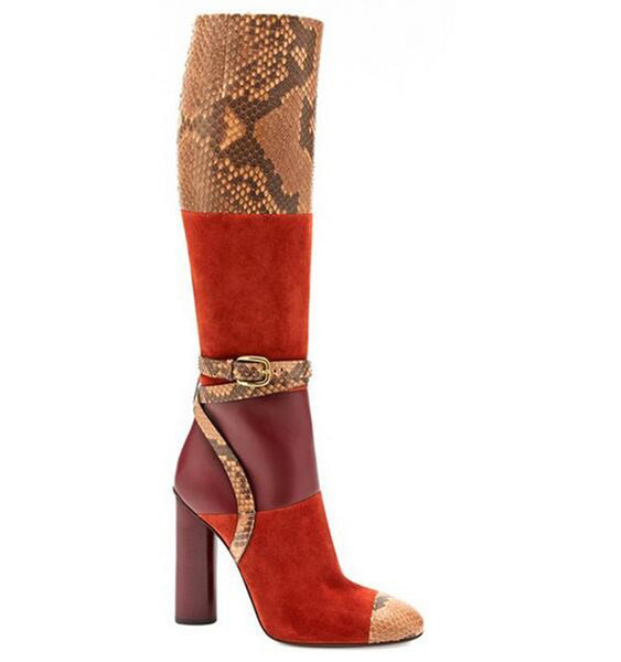 Genuine Leather Multicolored Snakeskin Knee High Block Heeled Boots