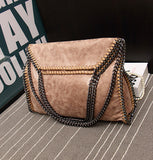 Genuine Leather Convertible Woven Chain Bag