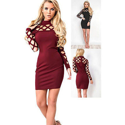 Hollow Out Turtleneck Pencil Mini Dress